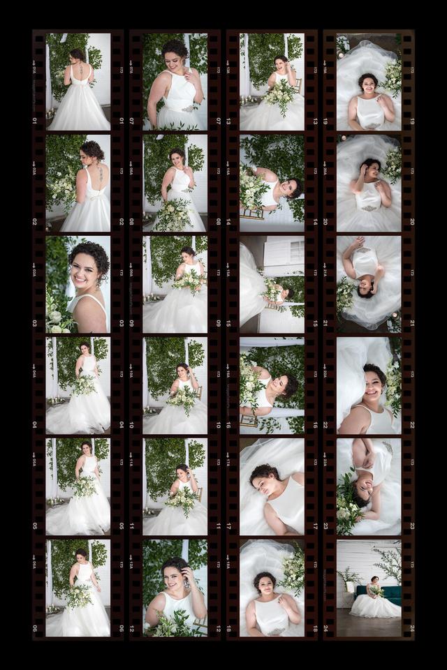 bridal portrait contact sheet
